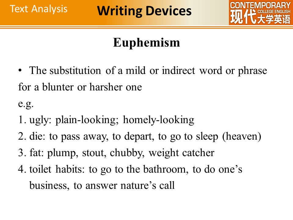 Writing Devices Euphemism Text Analysis