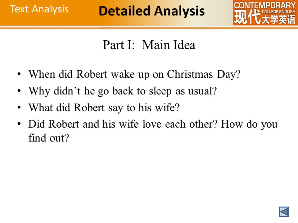 Detailed Analysis Part I: Main Idea Text Analysis