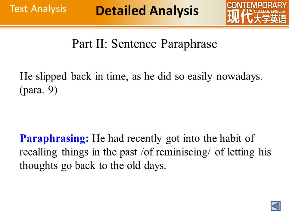 Part II: Sentence Paraphrase