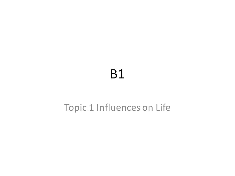 Topic 1 Influences on Life