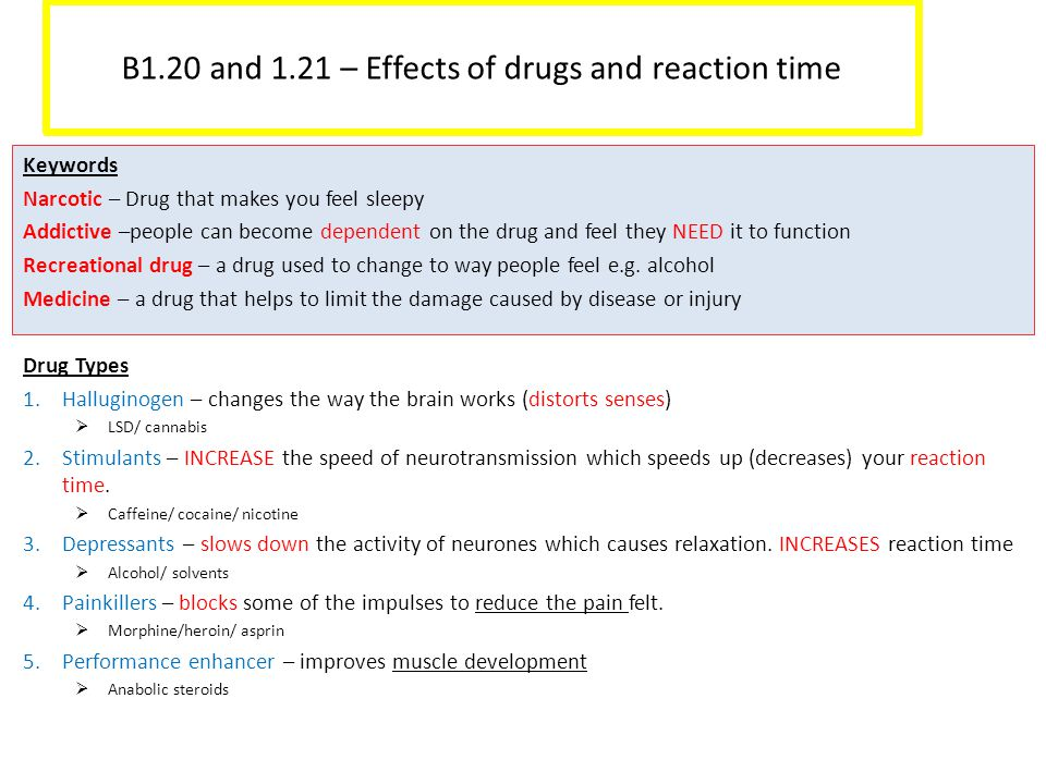 B1.20 and 1.21 – Effects of drugs and reaction time