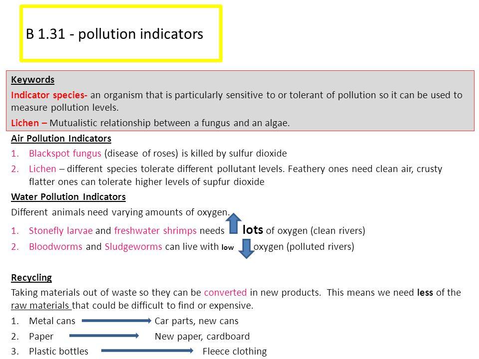 B 1.31 - pollution indicators