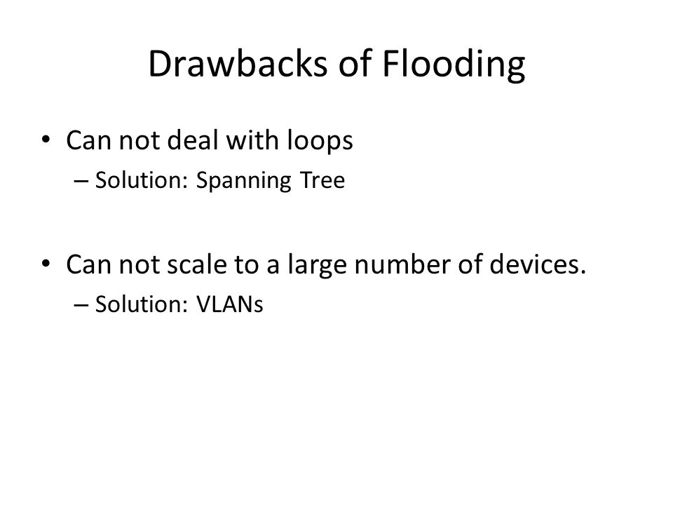 Drawbacks of Flooding Can not deal with loops