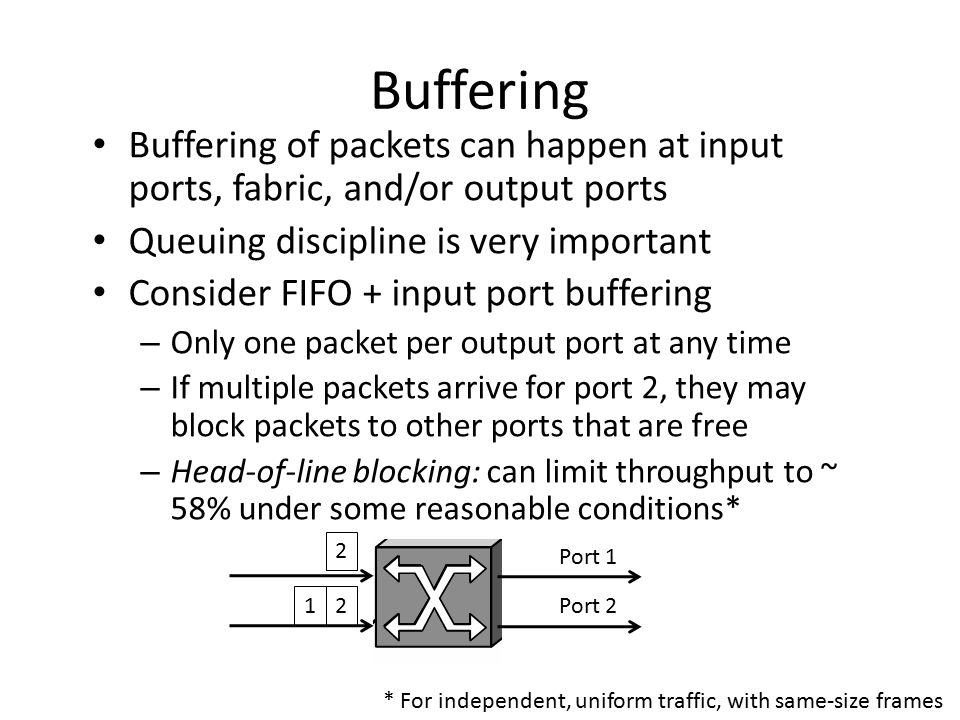 Buffering Buffering of packets can happen at input ports, fabric, and/or output ports. Queuing discipline is very important.
