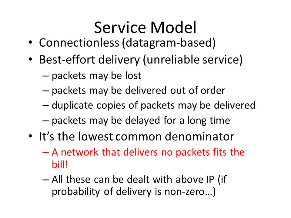 Service Model Connectionless (datagram-based)