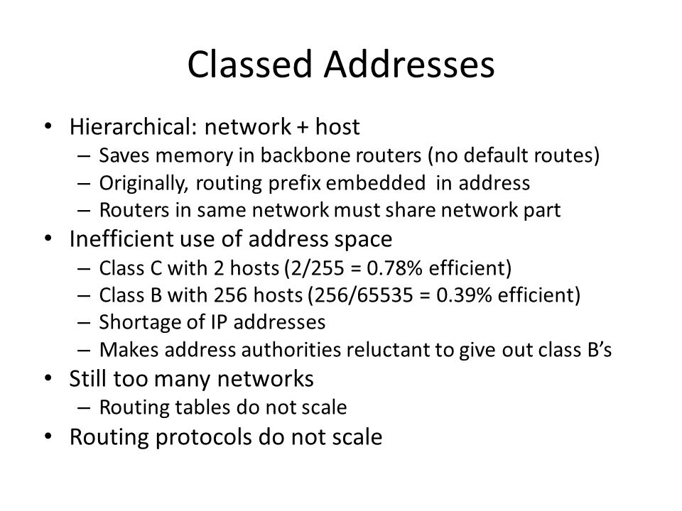Classed Addresses Hierarchical: network + host