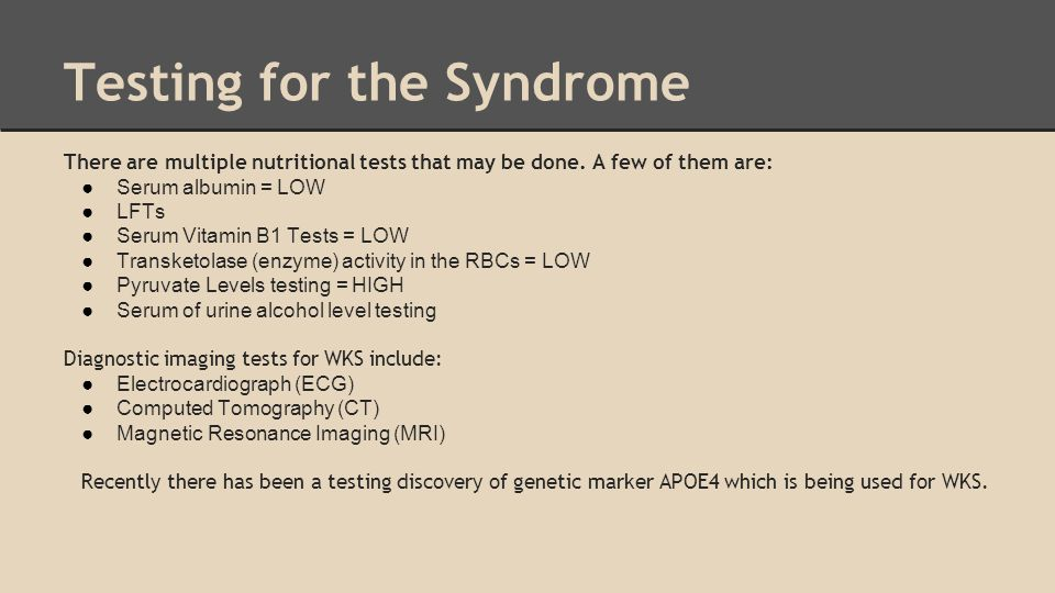 Testing for the Syndrome