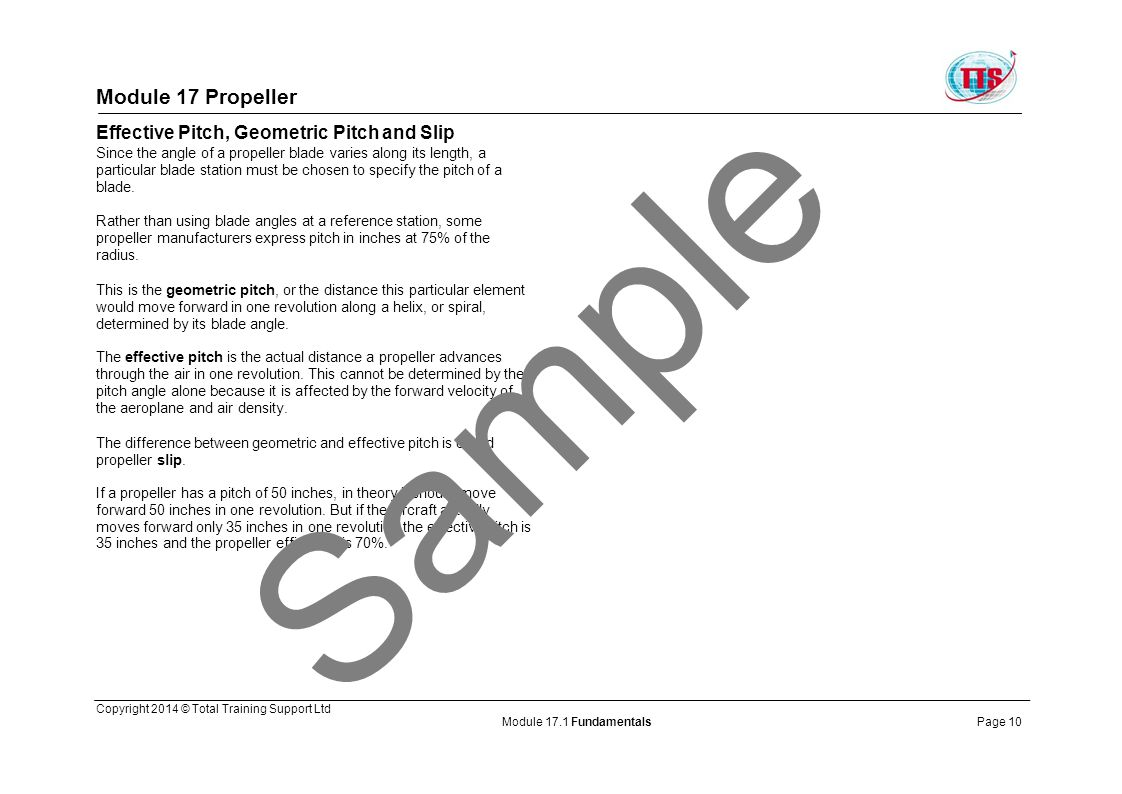 Sample Module 17 Propeller Effective Pitch, Geometric Pitch and Slip