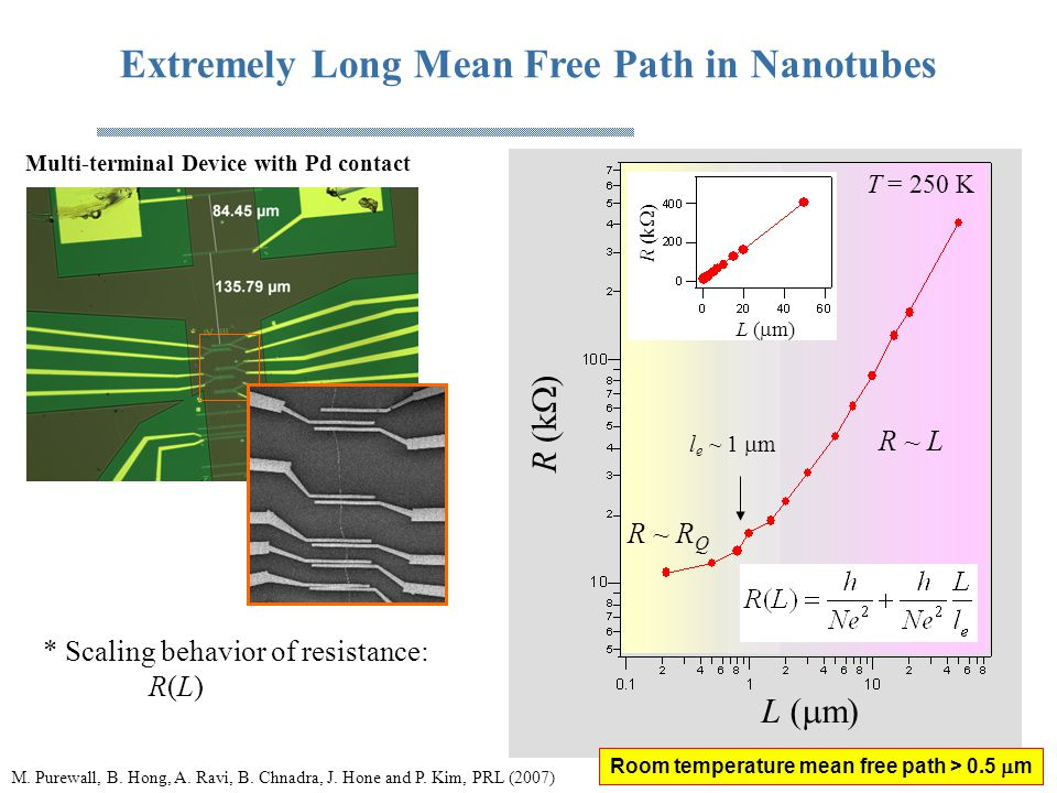 Extremely Long Mean Free Path in Nanotubes