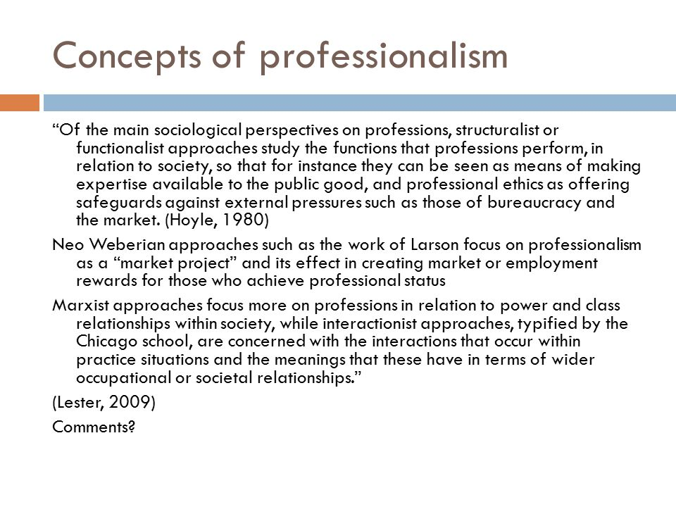 Concepts of professionalism