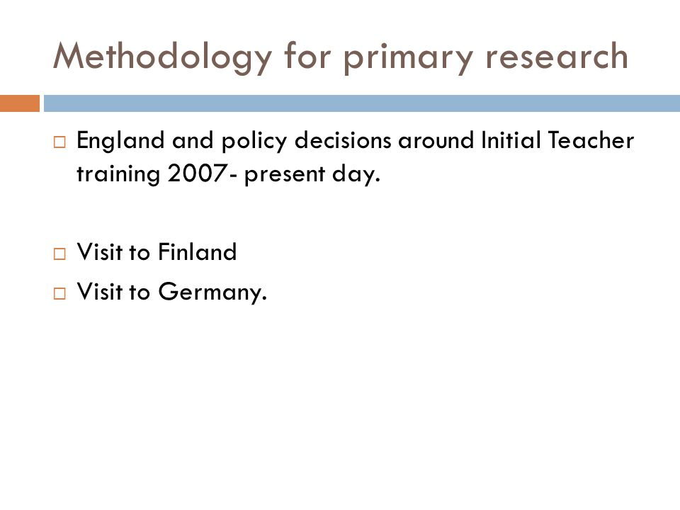Methodology for primary research