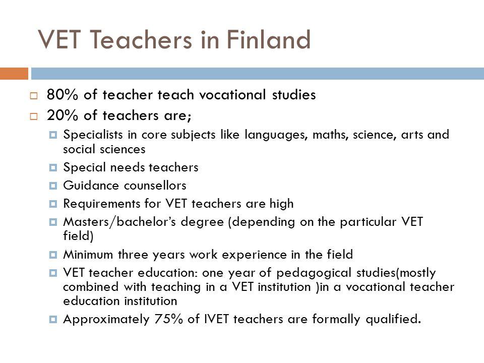 VET Teachers in Finland