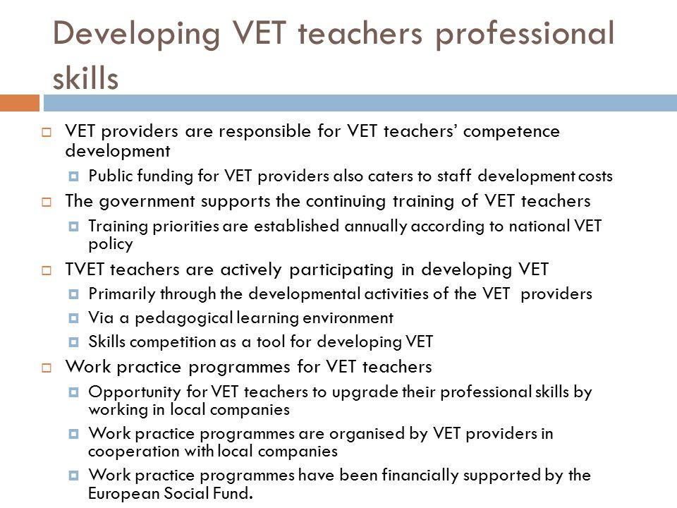 Developing VET teachers professional skills