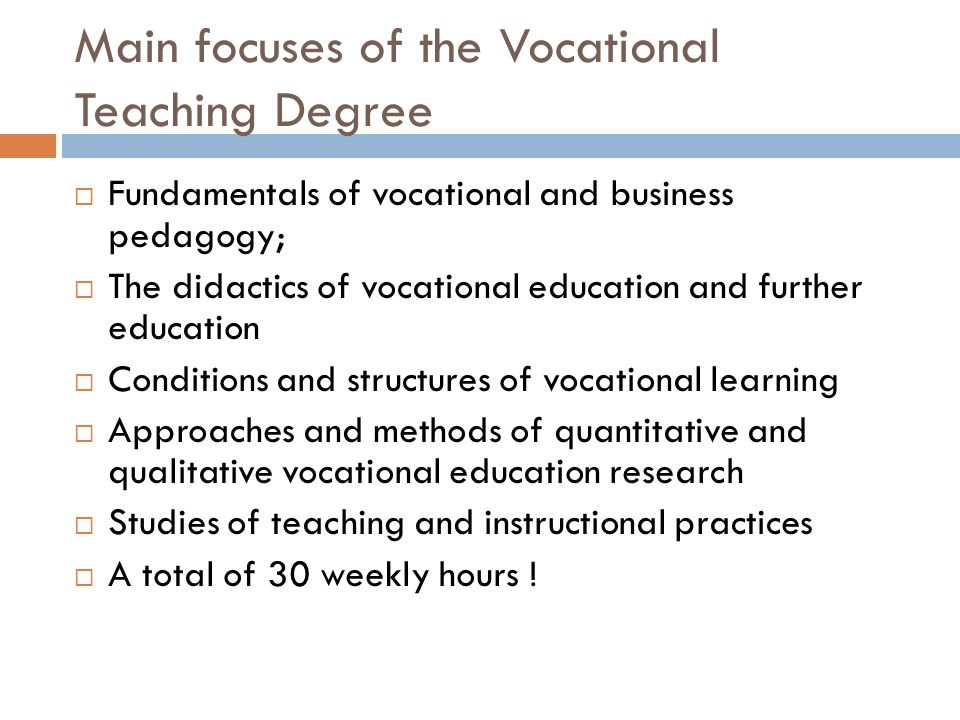 Main focuses of the Vocational Teaching Degree