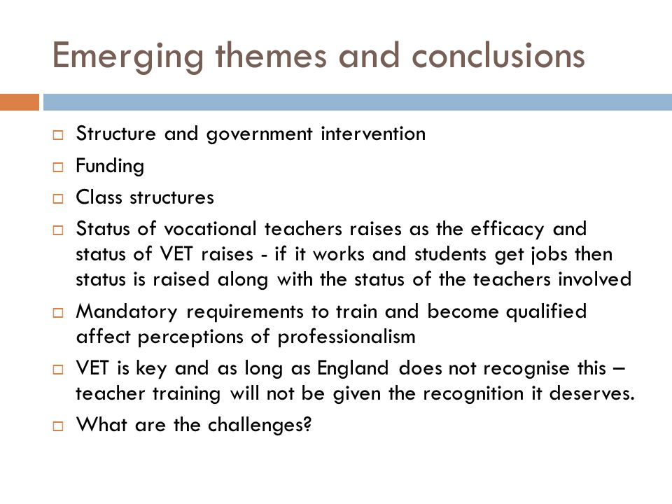 Emerging themes and conclusions