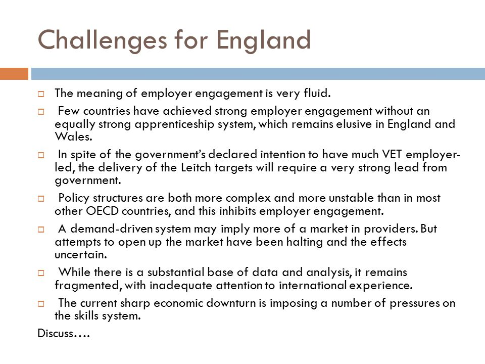Challenges for England
