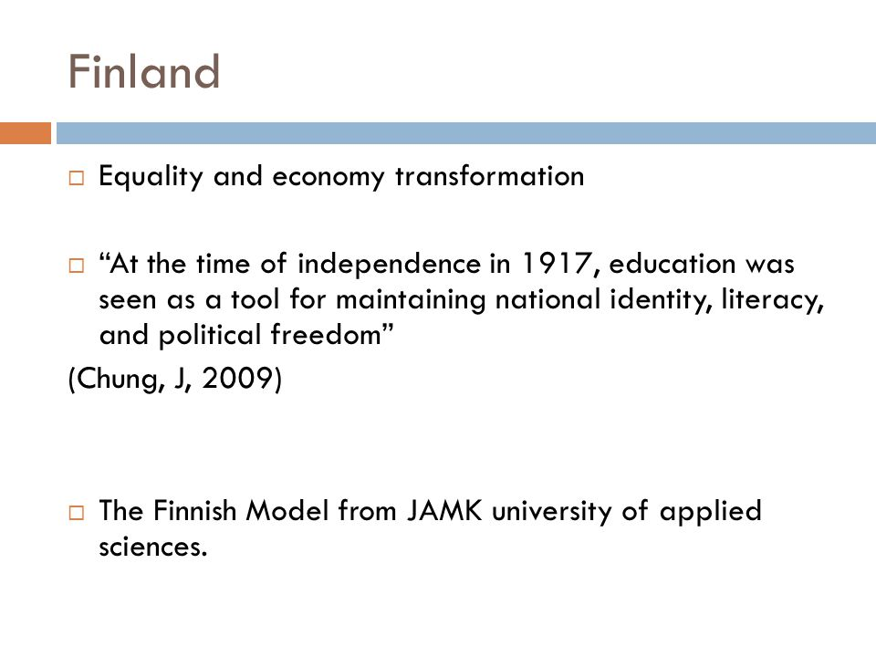 Finland Equality and economy transformation