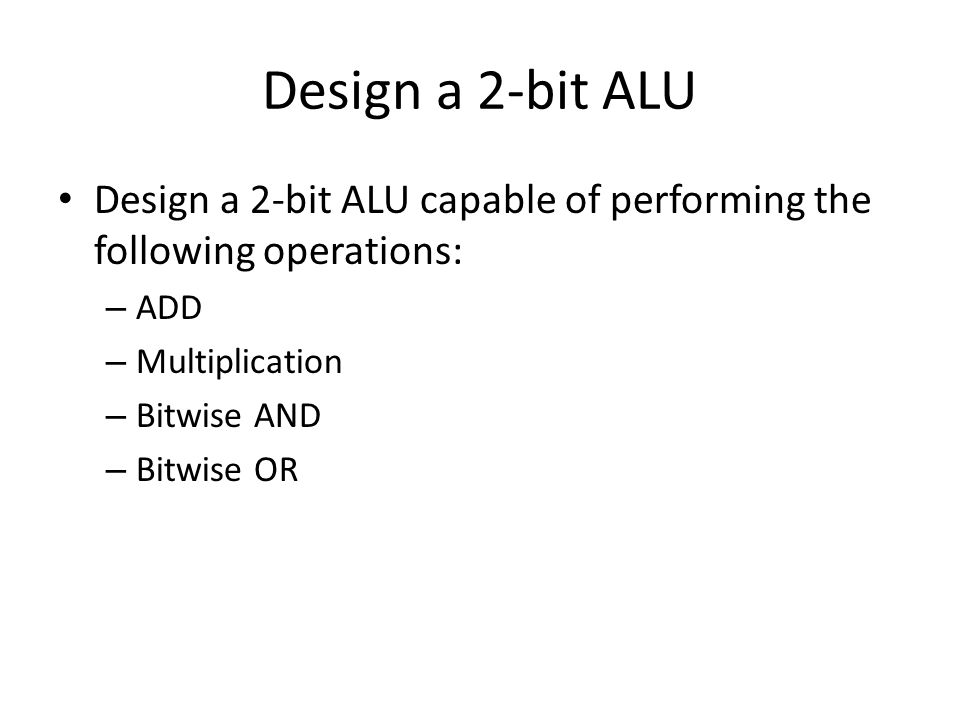 Design a 2-bit ALU Design a 2-bit ALU capable of performing the following operations: ADD. Multiplication.