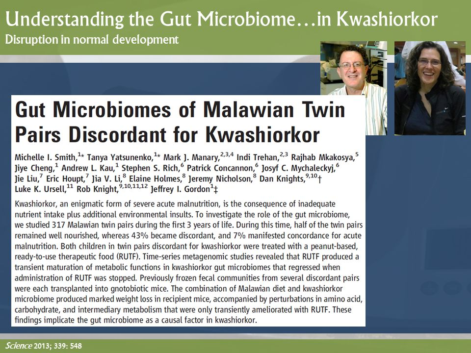 Understanding the Gut Microbiome…in Kwashiorkor Disruption in normal development