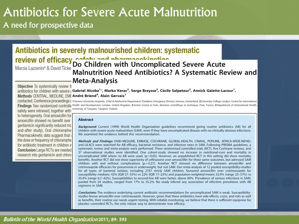 Antibiotics for Severe Acute Malnutrition