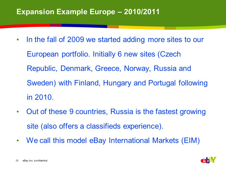 Expansion Example Europe – 2010/2011