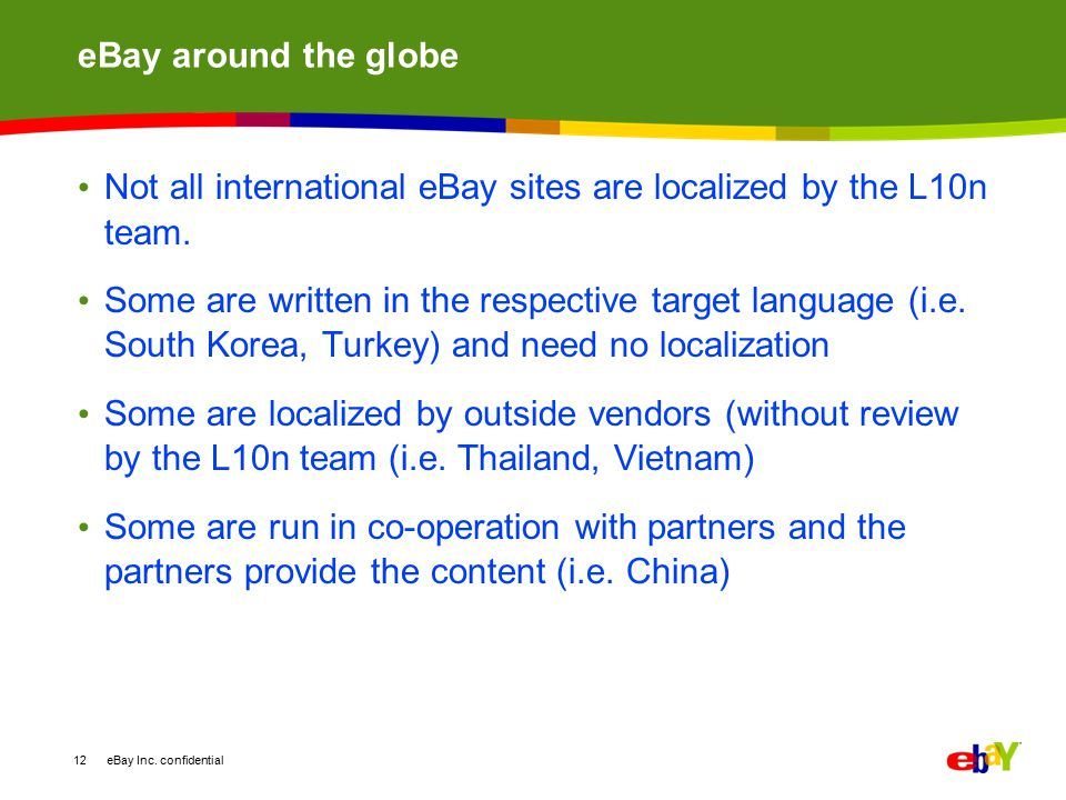 eBay around the globe Not all international eBay sites are localized by the L10n team.