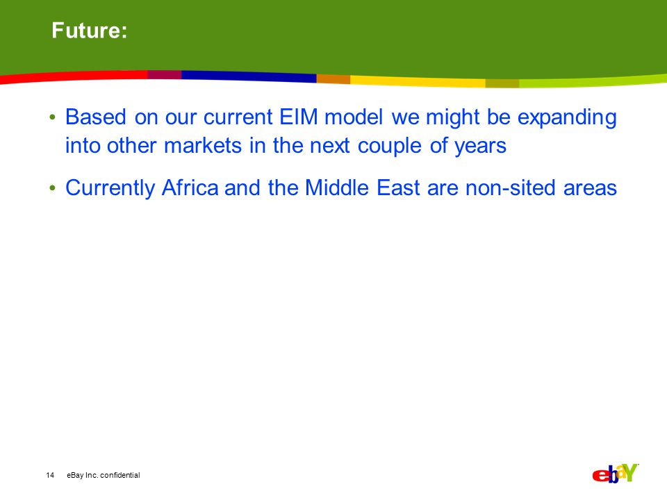 Future: Based on our current EIM model we might be expanding into other markets in the next couple of years.