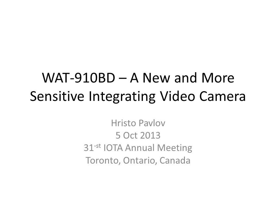 WAT-910BD – A New and More Sensitive Integrating Video Camera
