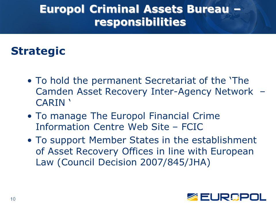 Europol Criminal Assets Bureau – responsibilities