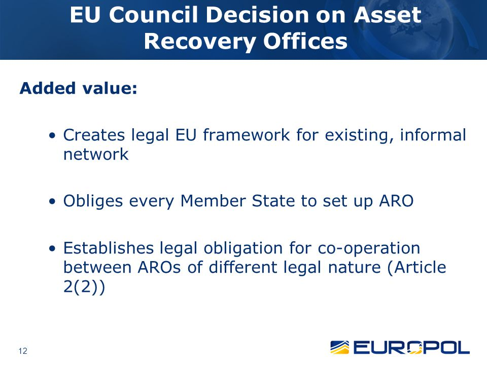 EU Council Decision on Asset Recovery Offices