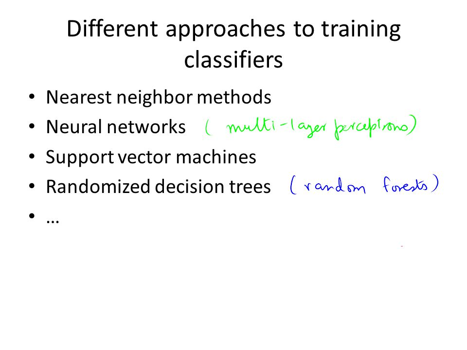 Different approaches to training classifiers
