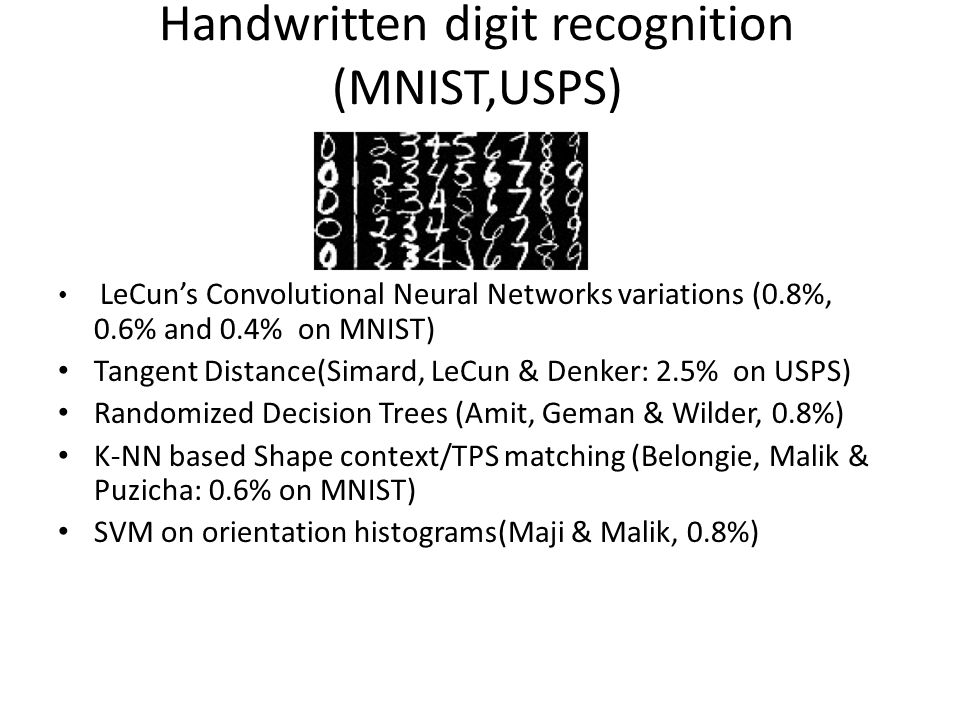 Handwritten digit recognition (MNIST,USPS)