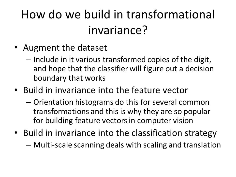 How do we build in transformational invariance