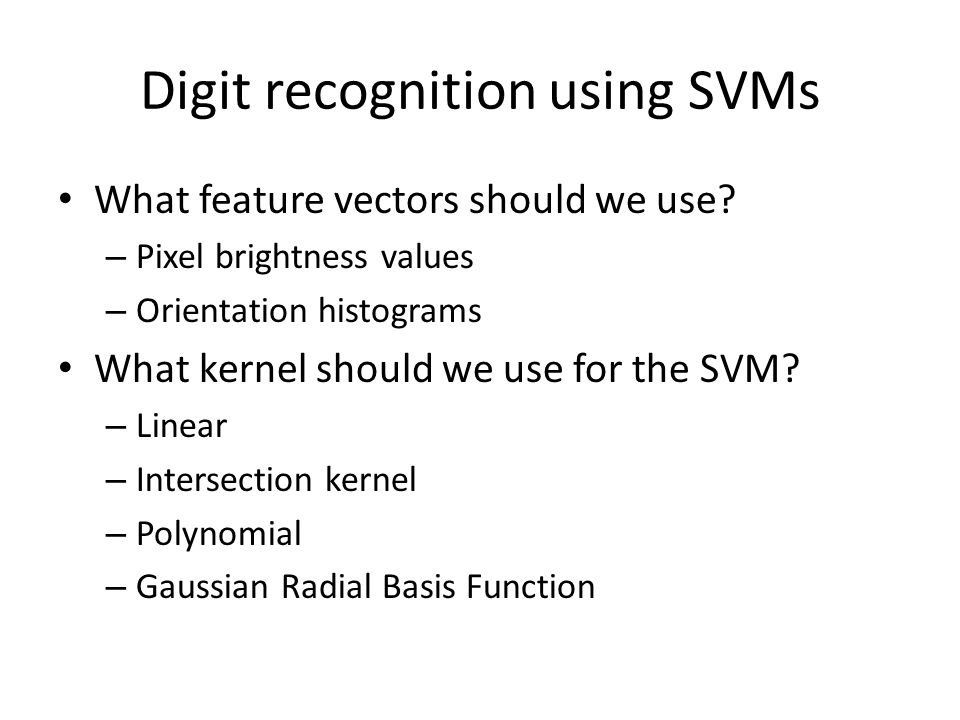 Digit recognition using SVMs