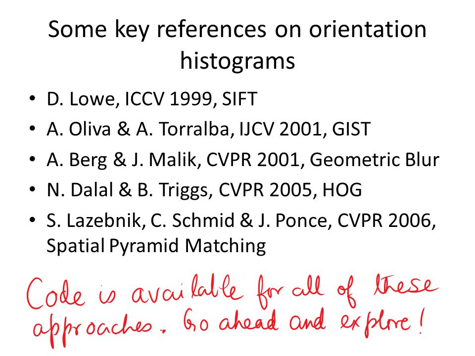 Some key references on orientation histograms