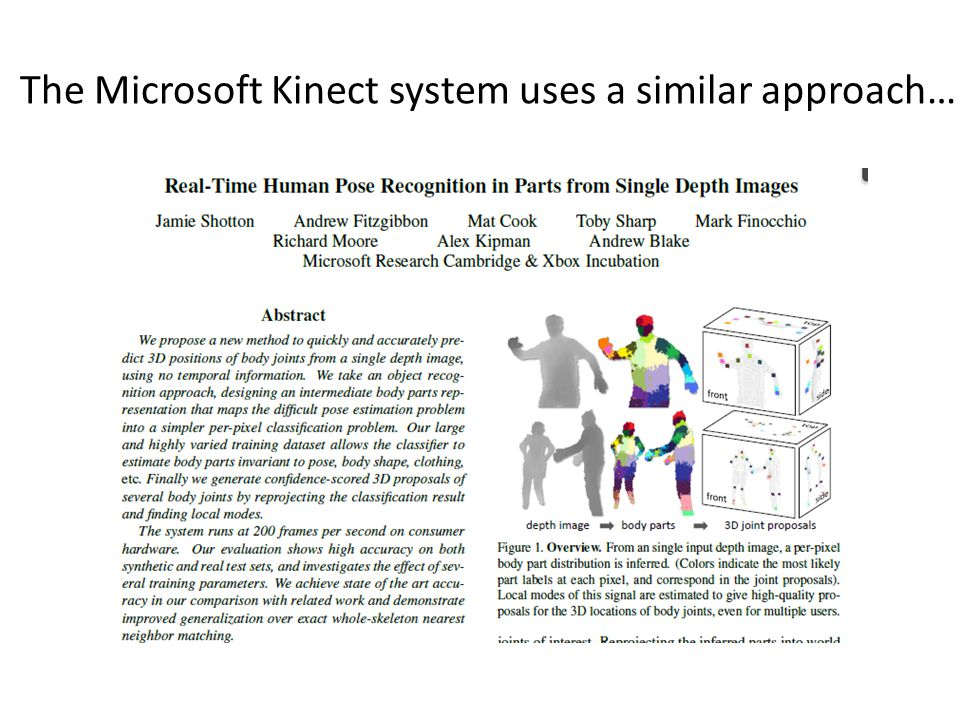 The Microsoft Kinect system uses a similar approach…