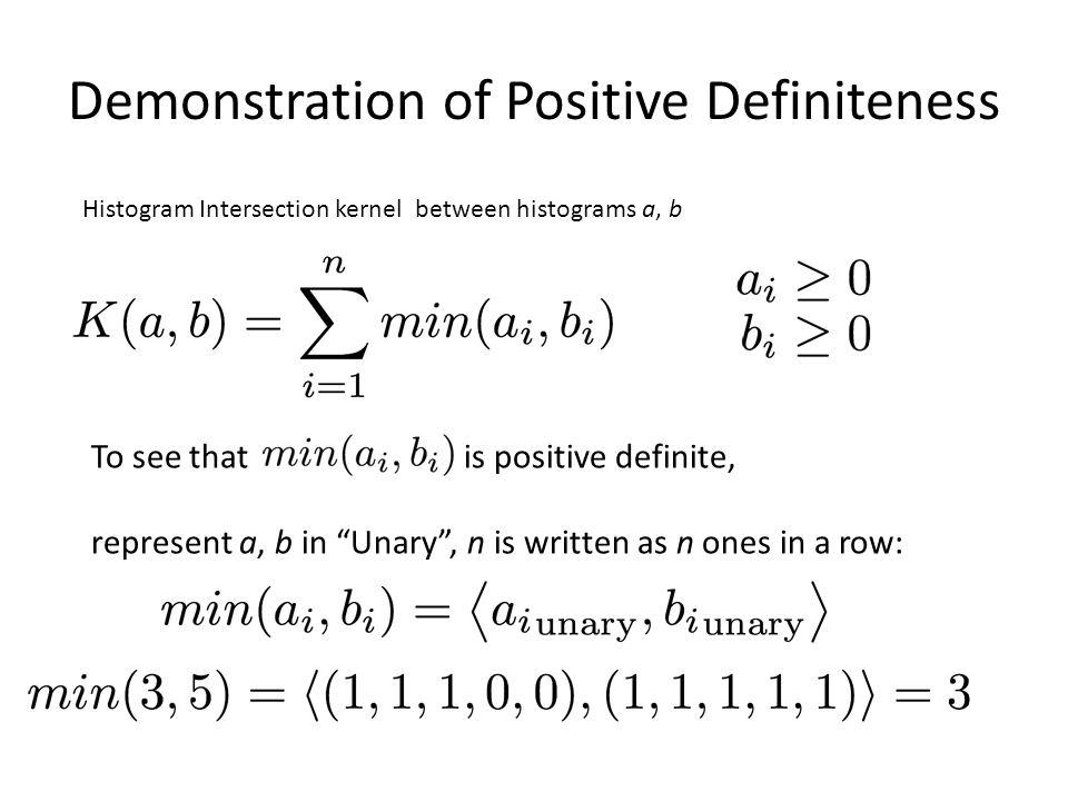 Demonstration of Positive Definiteness