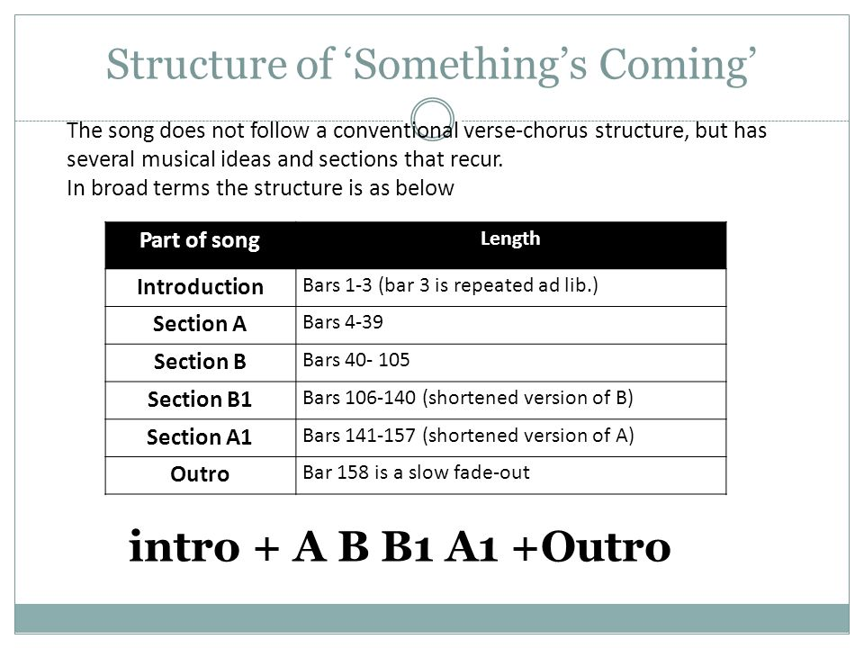 Structure of 'Something's Coming'