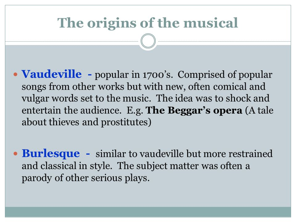 The origins of the musical