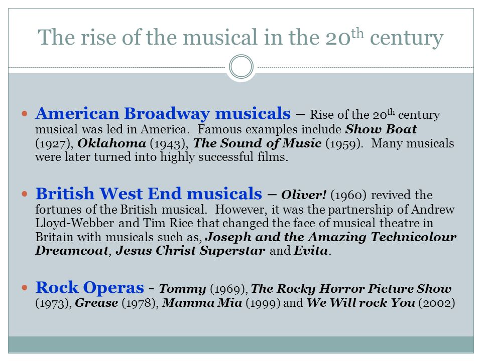 The rise of the musical in the 20th century