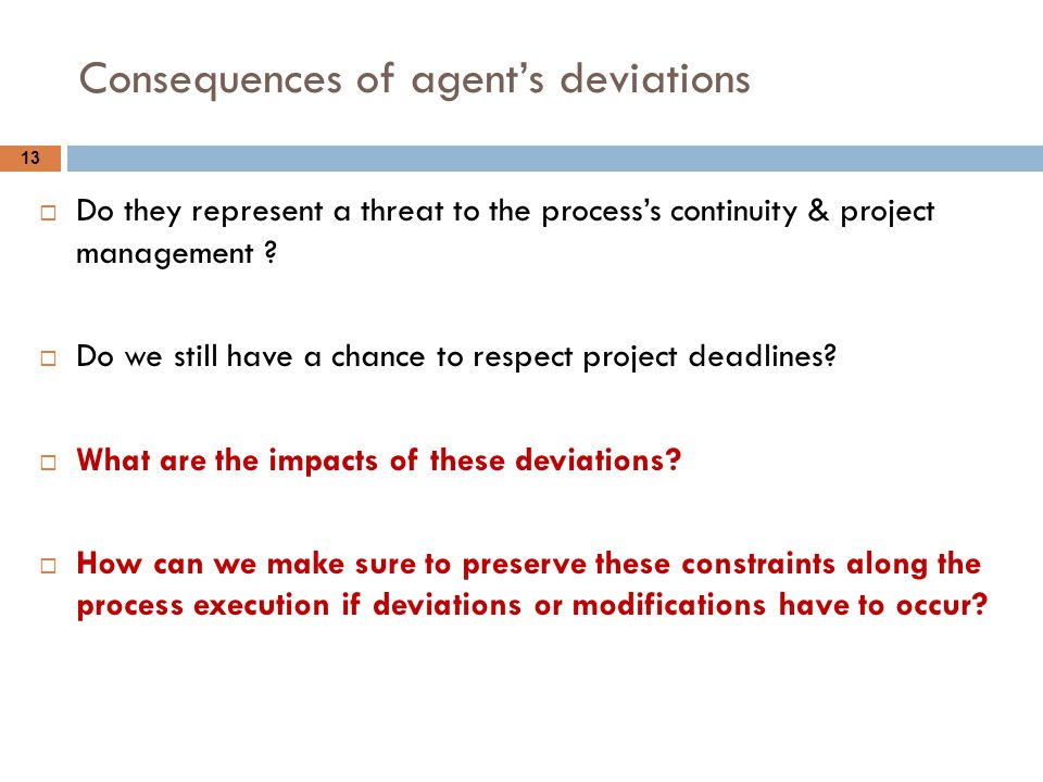 Consequences of agent's deviations