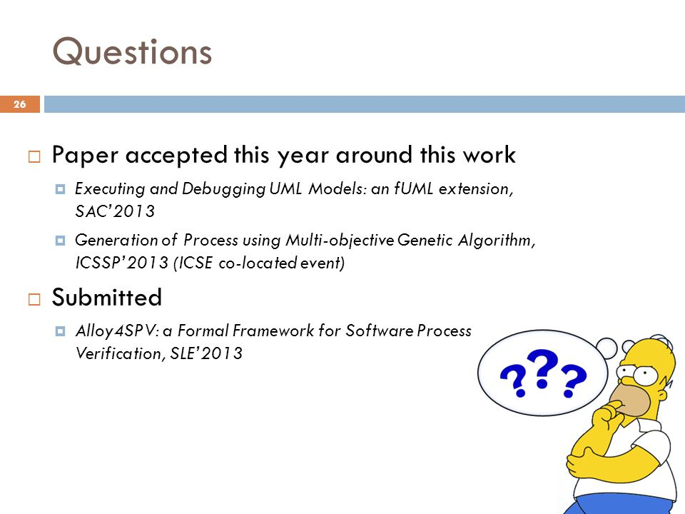Questions Paper accepted this year around this work Submitted