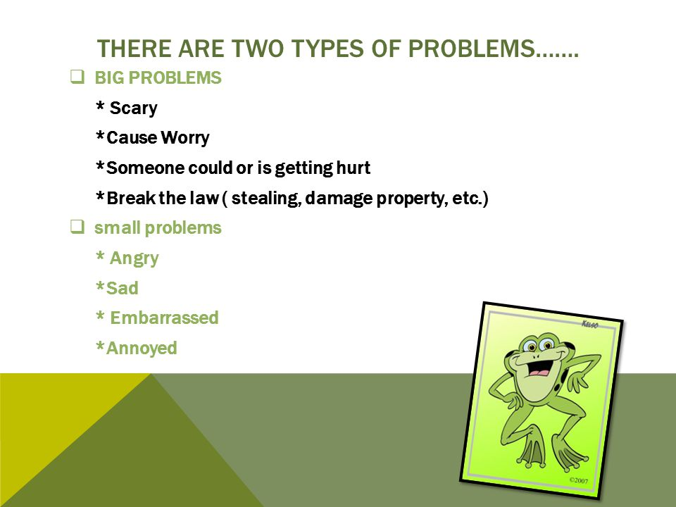 There are Two Types of problems…….
