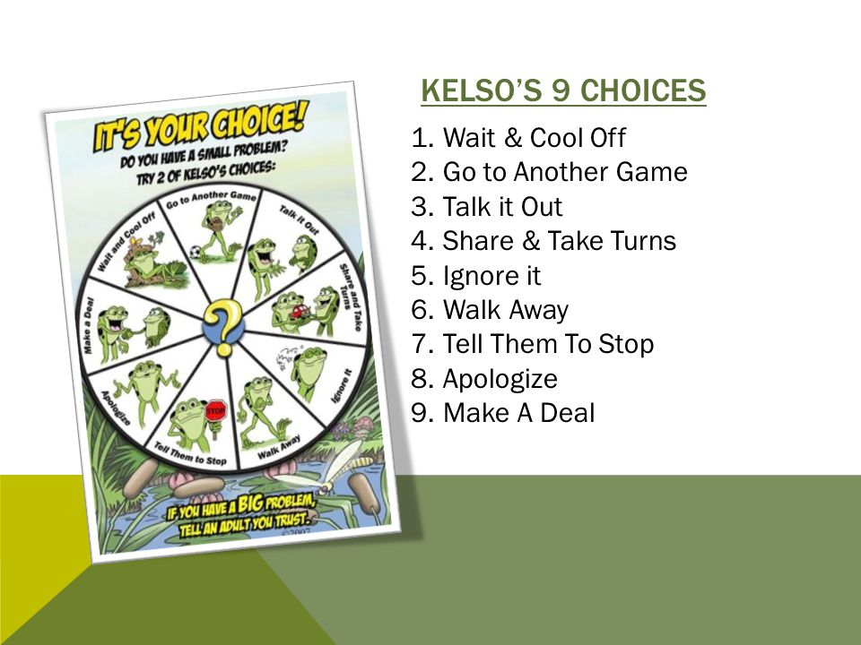 Kelso's 9 Choices Wait & Cool Off Go to Another Game Talk it Out