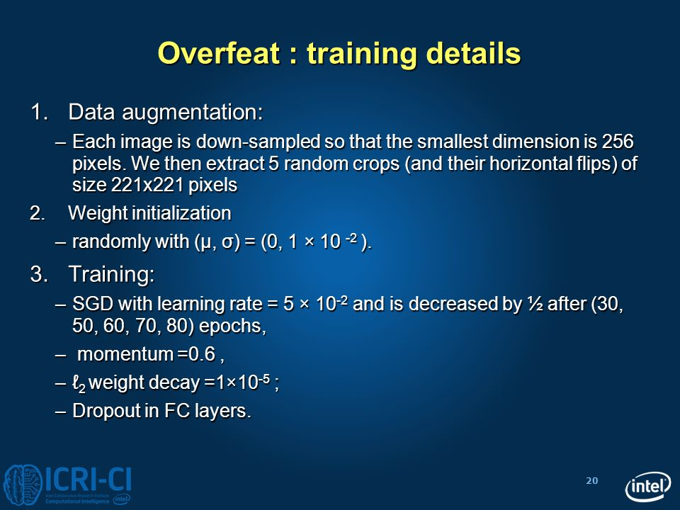 Overfeat : training details