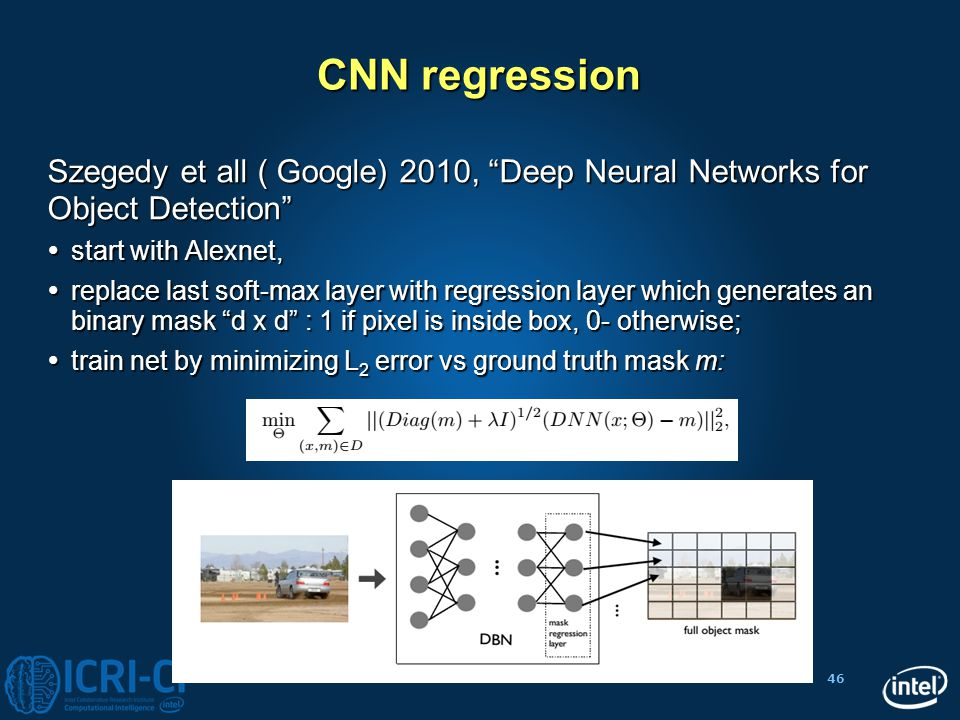 CNN regression Szegedy et all ( Google) 2010, Deep Neural Networks for Object Detection start with Alexnet,