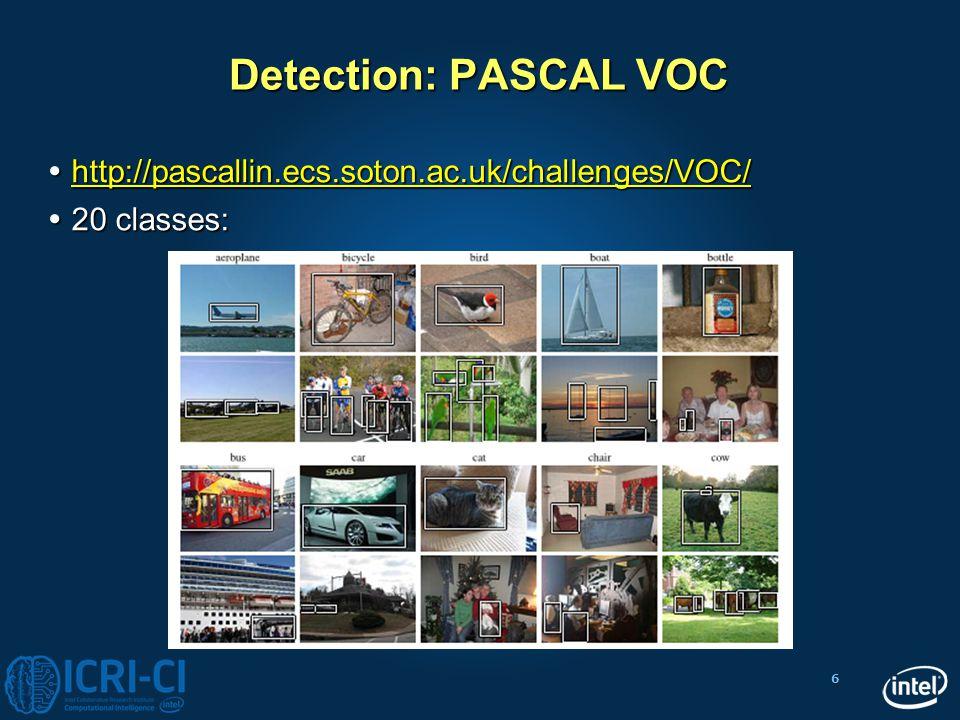 Detection: PASCAL VOC http://pascallin.ecs.soton.ac.uk/challenges/VOC/