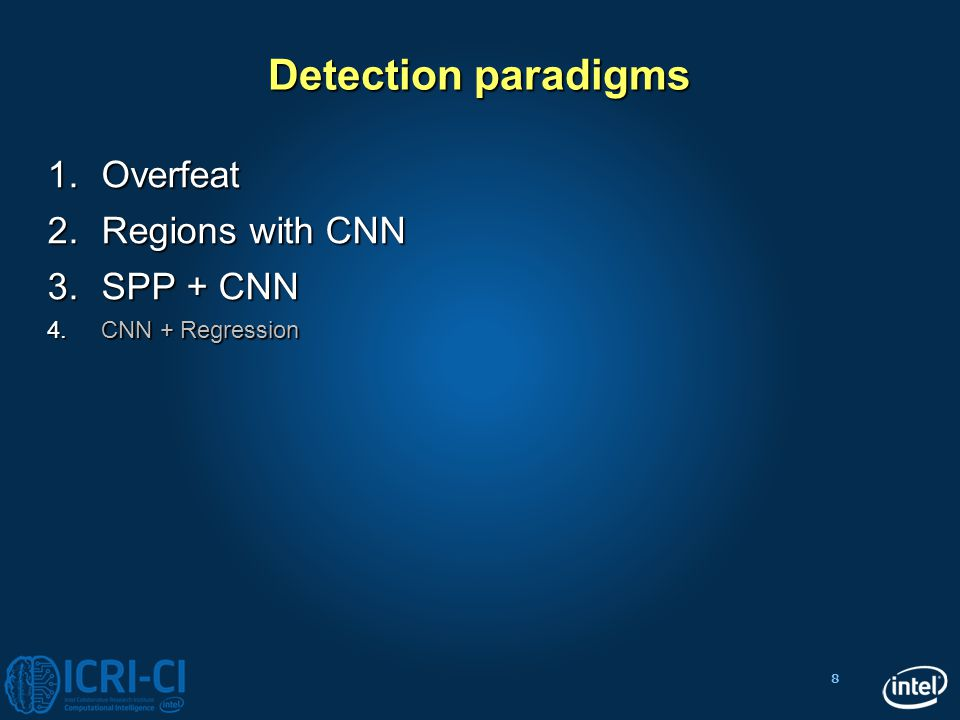 Detection paradigms Overfeat Regions with CNN SPP + CNN