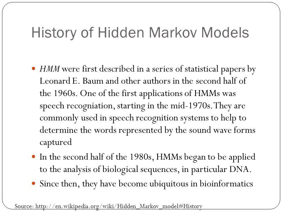 History of Hidden Markov Models