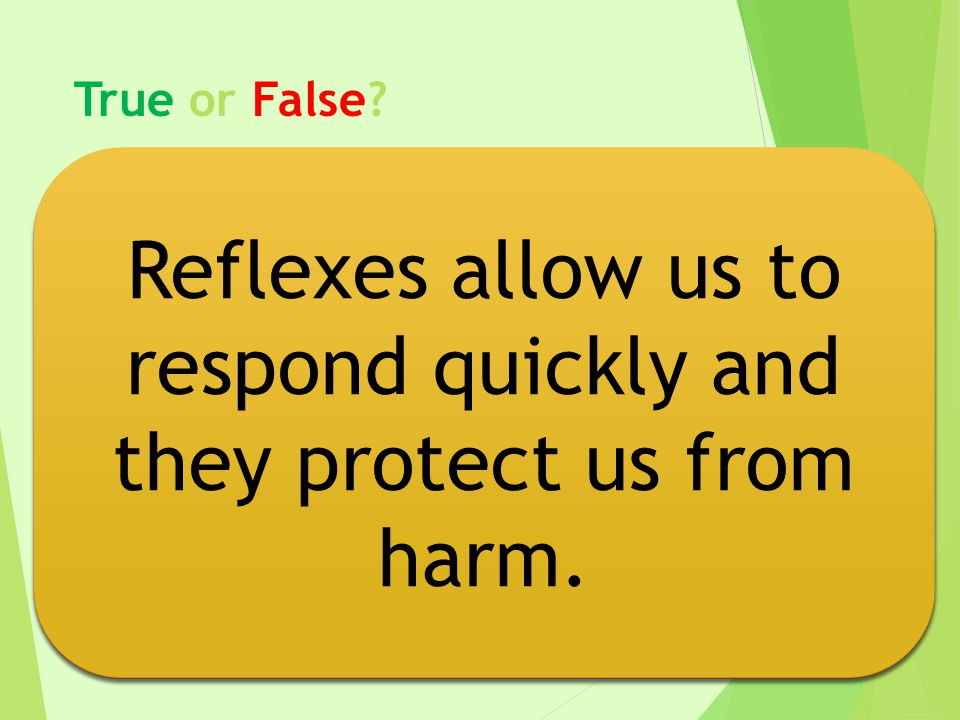 Reflexes allow us to respond quickly and they protect us from harm.
